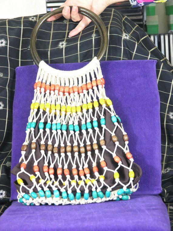 vintage macrame string bag with bead decoration. Black Bedroom Furniture Sets. Home Design Ideas