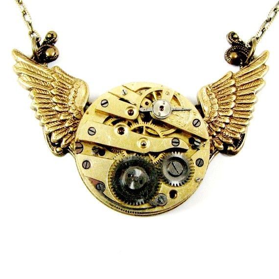 """Steampunk Wing Necklace Baby """"MECHANICAL WINGS in Flight"""" Circa 1800s Pocket Watch - Nouveau Motley Exclusive"""