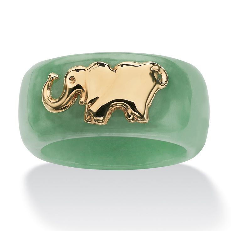 Round Genuine Green Jade 10k Yellow Gold Elephant Ring: