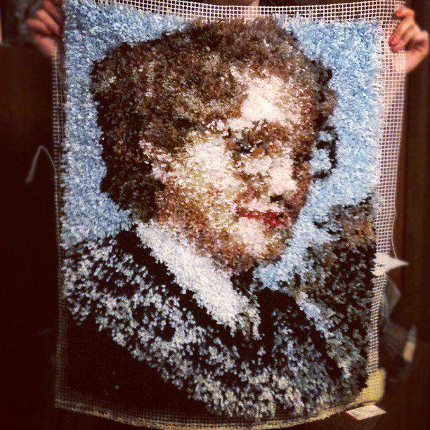 Mrs. Doubtfire Latch hooked rug!