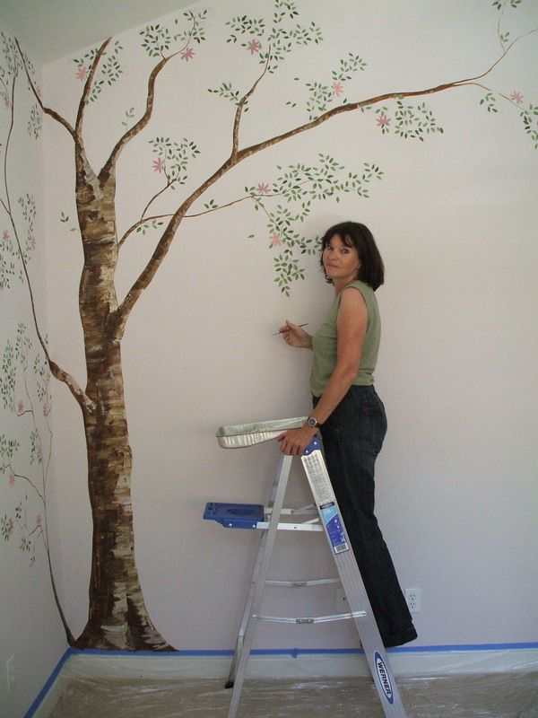 Simple Tree Wall Murals Painting Decorating Ideas Start The Trunk On Landing Branch Up Out To Front