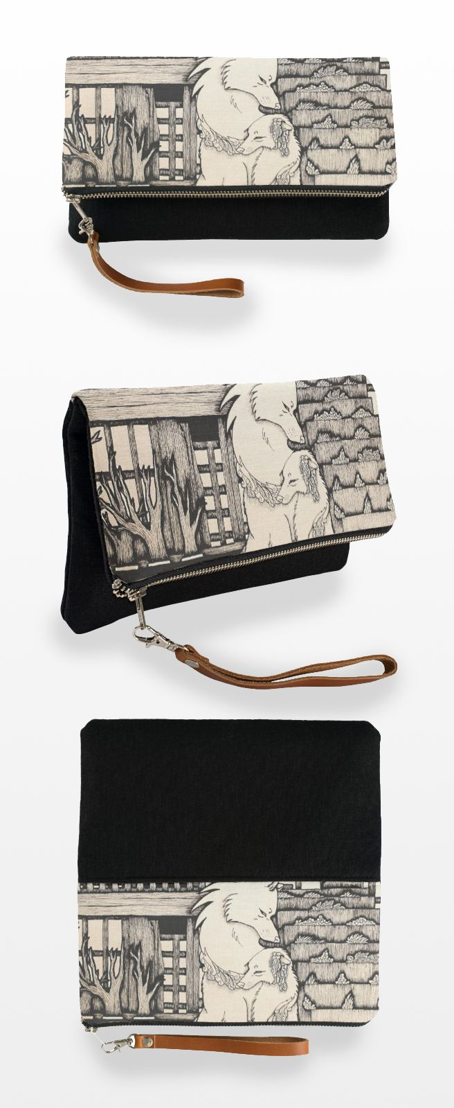 """Under the Bridge"" Black and White Clutch Bag  #wolf_products #wolf #wolf_couple #art #illustration #sepia #cute #drawing"