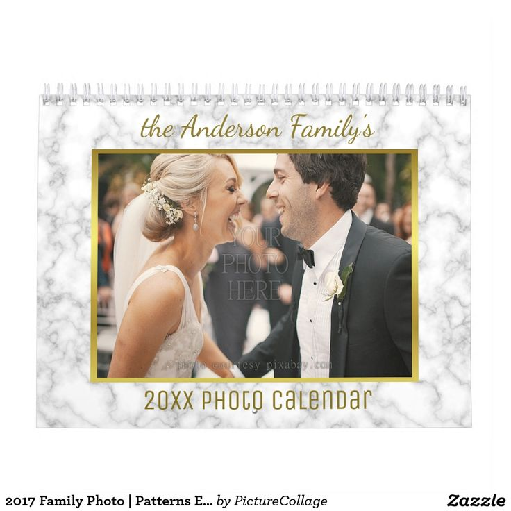 2017 Custom Calendar with Family Photos and Patterns - It has easy template fields that make it incredibly simple to personalize :) #zazzle