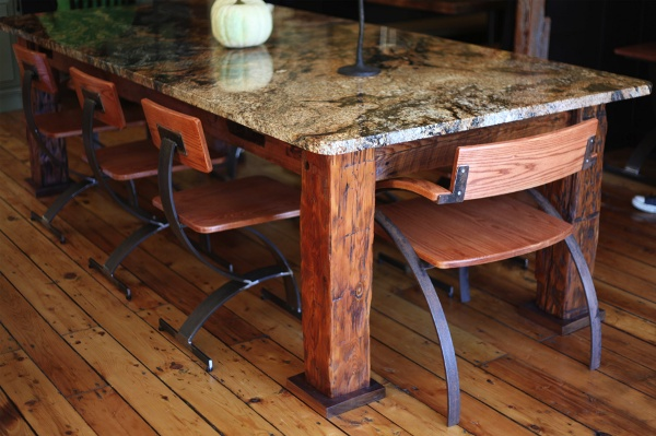 Gorgeous wood and granite table & chairs.