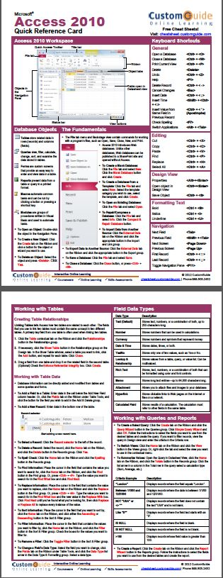 Free Access 2010 Cheat Sheet http://www.customguide.com/cheat_sheets/access-2010-cheat-sheet.pdf