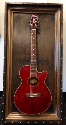 """Guitar Display Case """"Leather bound"""" Shadow Box"""
