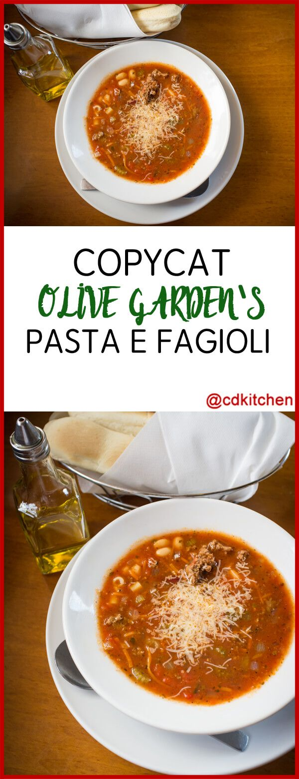 A copycat version of The Olive Garden's famous recipe made with ground beef, vegetables, red and white kidney beans, beef stock, spaghetti sauce, and shell pasta. | CDKitchen.com