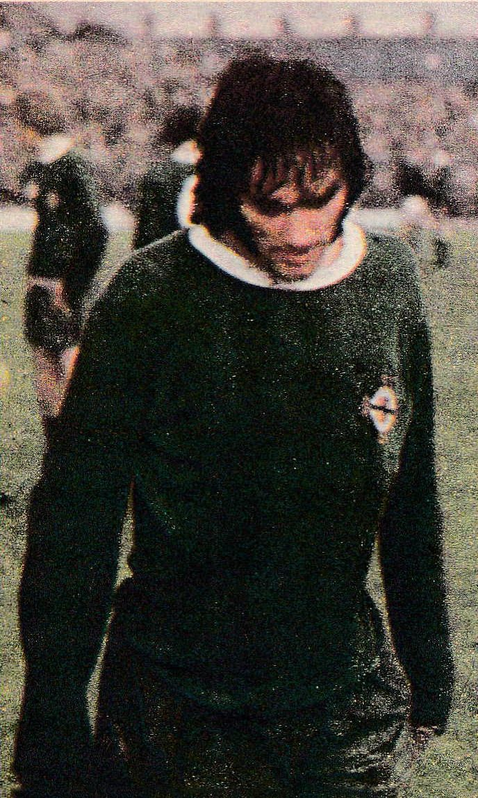 18th April 1970. Northern Ireland winger George Best sent off, against Scotland, for throwing mud at referee Jim Finney. Fed up with being kicked, Best's pleas for help from Finney went unanswered.