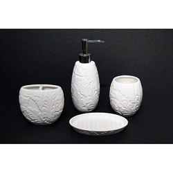 Bathroom accessories??? @Overstock - This four-piece bathroom accessories set includes a soap dish, lotion pump, toothbrush holder, and tumbler. Available in white or sky blue, the ceramic pieces features a molded tropical pattern that creates an elegant and textured look.http://www.overstock.com/Bedding-Bath/Savannah-Four-piece-Molded-Tropical-pattern-Ceramic-Bath-Accessory-Set/6296270/product.html?CID=214117 $37.99