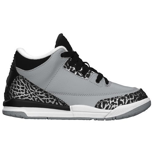Jordan Retro 3 - Boys' Preschool - Basketball - Shoes - Wolf Grey/Metallic