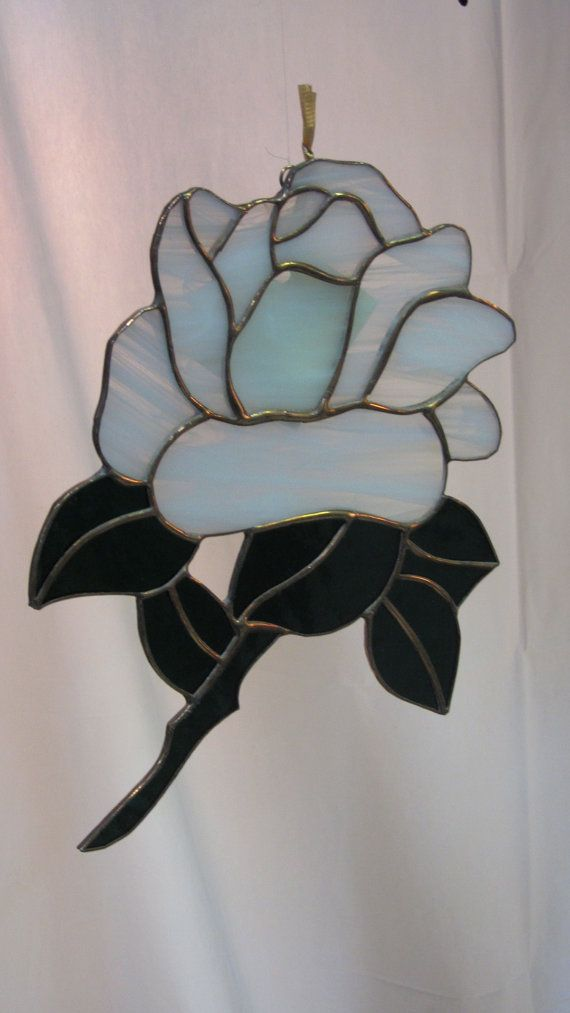 Rose Stained Glass custom colour by MedlynStainedGlass on Etsy