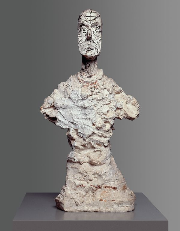 Alberto Giacometti Buste de Diego, about 1964/65 Plaster, brush in black and red, 57,6 x 29,3 x 19,4 cm Kunsthaus Zürich, Alberto Giacometti Foundation © Succession Giacometti / 2012 ProLitteri