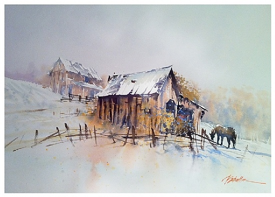new year's day - ohio by Thomas W Schaller Watercolor ~ 22 inches x 30 inches