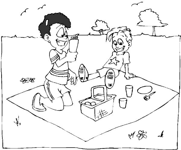 Coloring Pages Of Picnic Blanket Summer Picnic Coloring Book Page Picnic Basket Blanket Towel Summer Coloring Pages Coloring Pages People Coloring Pages
