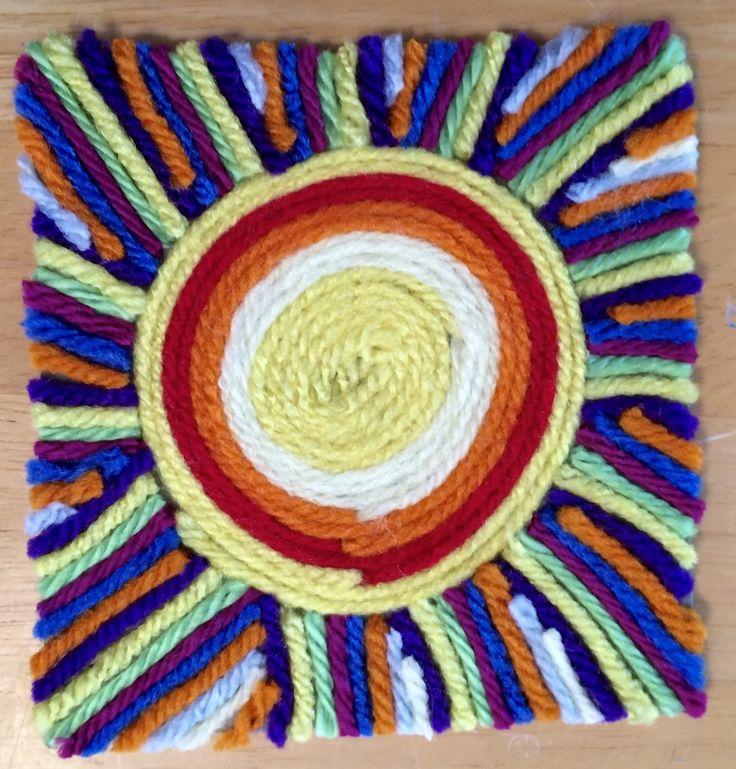 Kathy's AngelNik Designs & Art Project Ideas: Mexican Sun Huichol Yarn Painting Art Lesson