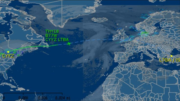 My wife's flight to Istanbul. Map indicates position of aircraft at 1:55am, December 27, about 3 hours after takeoff.