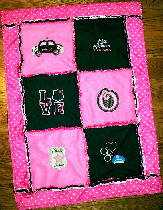 Police Officer Baby Girl Quilt / Monogrammed Personalized Blanket Pink and Black