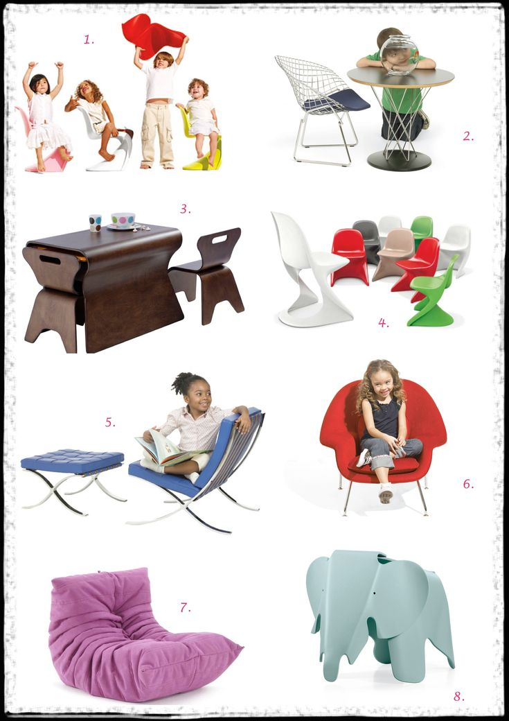 1. Vitra – Panton Jr. Chair   2. Knoll Kids – Child's Bertoia Diamond Chair   3. Bloom Otto Table and Chairs   4. Casala – Casalino Jr.  5. Knoll Kids – Barcelona Chair and Stool   6. Knoll Kids – Child's Womb Chair   7. Ligne Roset – Togo Mini by Michel Ducaroy   8. Vitra – Eames Elephant