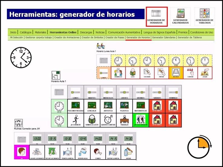 """Manual para el GENERADOR DE HORARIOS de ARASAAC.    La herramienta """"Generador de Horarios"""" tiene como objetivol la creación y elaboración de horarios personalizados que ayuden a nuestros usuarios a situarse temporalmente a lo largo de un periodo de tiempo, pudiendo establecer las actividades o rutinas adecuadas para cada momento.    MANUAL: http://arasaac.org/zona_descargas/documentacion/manual_generador_horarios_es.pdf    HERRAMIENTAS: http://arasaac.org/herramientas.php"""
