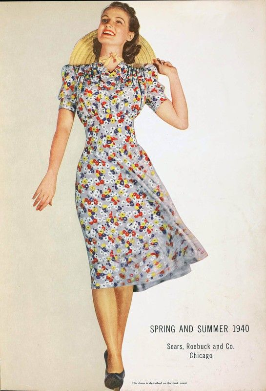 A great warm weather dress and over all look from the spring summer Sears 1940 catalog. 40s floral rayon dress day casual color photo print ad model magazine white red blue fashion style war era WWII swing