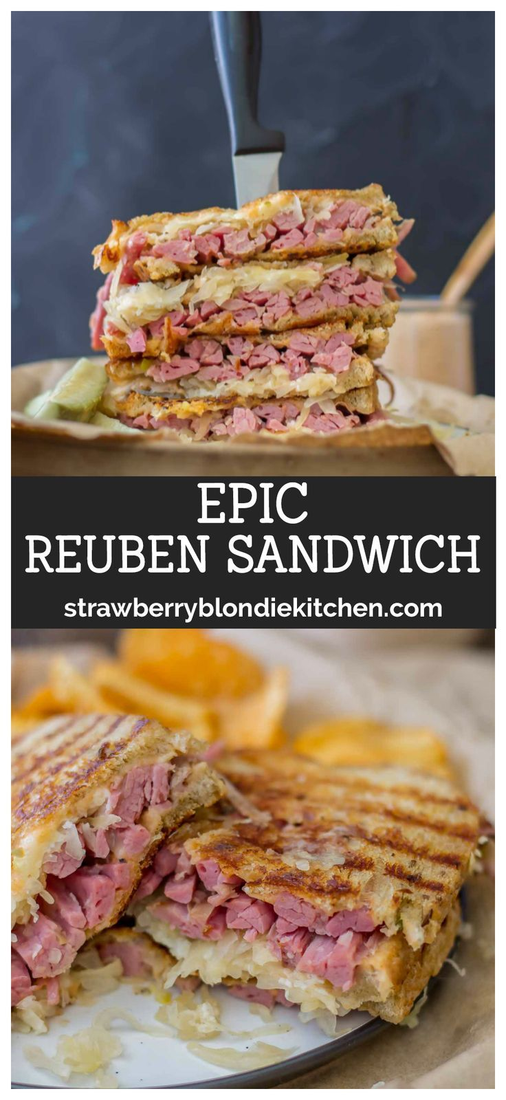 This Epic Reuben Sandwich features layers of tender corned beef, tangy sauerkraut, sharp and creamy fontina andRussian dressing, grilled between slices of seeded rye bread. The onlyReuben Sandwich recipe you'll ever need! #cornedbeef #sandwich #sandwichrecipe #stpatricksday #reuben #reubensandwich #reubenrecipe #irishfood #irishrecipes #stpatricksdayfood
