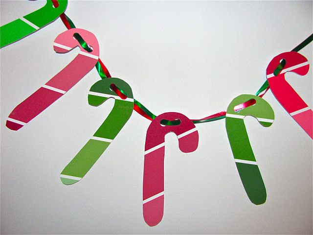 Paint chip candy cane garland from @ChMuffinTree