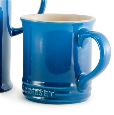 Beautiful Marsaille Blue Le Cruiset set/4 mugs.