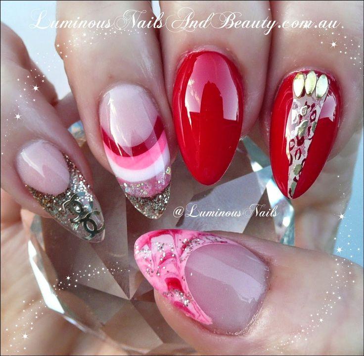 Gel Sculpture Nails Valentines Design
