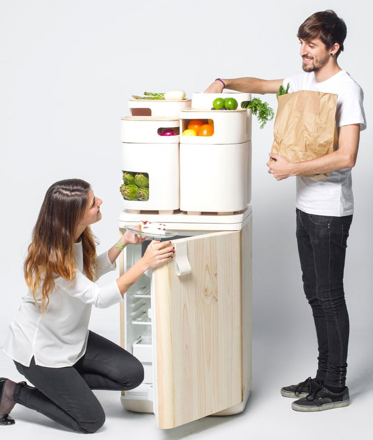 a new concept for keeping produce fresher, longer using heat emitted from the fridge to provide the ideal temperature and humidity for produce stored in ceramic containers which sit on top