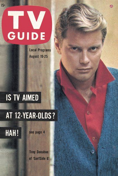 """TV Guide: August 19, 1961 - Troy Donahue of """"SurfSide 6"""""""