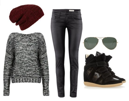 Black sneaker wedge outfit <3