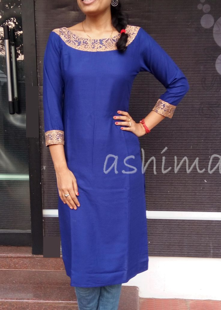 Code:1102163 -Rayon Cotton Kurta With Embroidered Net- Price INR:1250/-