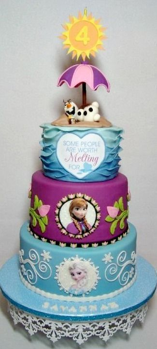 Frozen Cake with Anna, Elsa, and Olaf in Summer by wanda