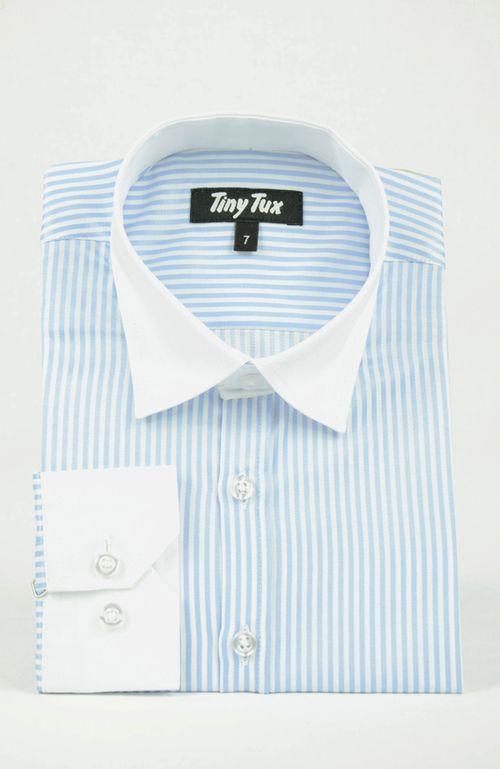 Piccadilly stripe blue boys shirt