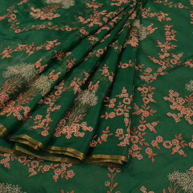 Buy online Embroidered Green Kota Silk Saree With Floral Motifs 10015101