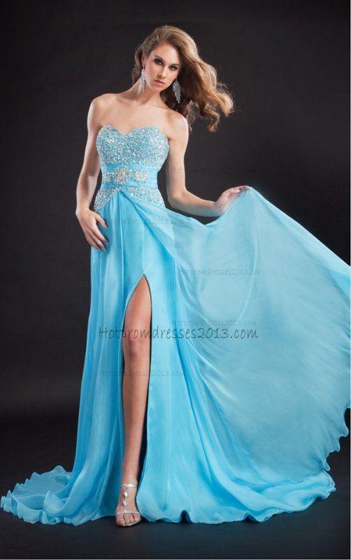 Sheath Floor-length Sides Split Sweetheart Blue Homecoming Dresses http://www.hotpromdresses2013.com