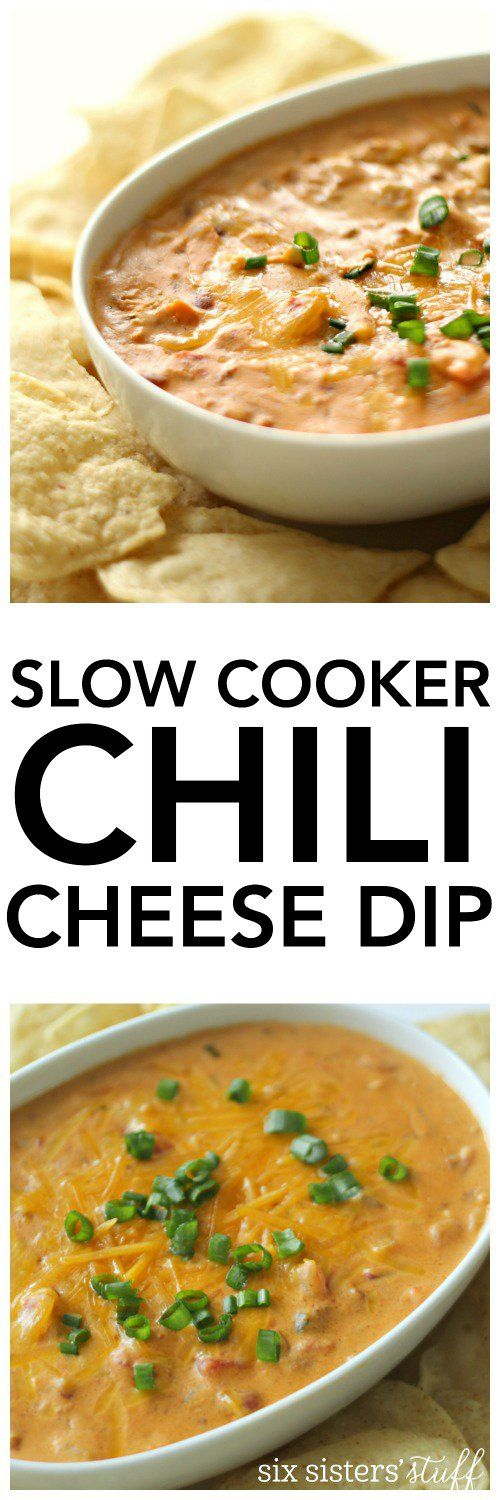 Slow Cooker Warm Chili Cheese Dip from SixSistersStuff.com. Perfect as a snack or an appetizer!