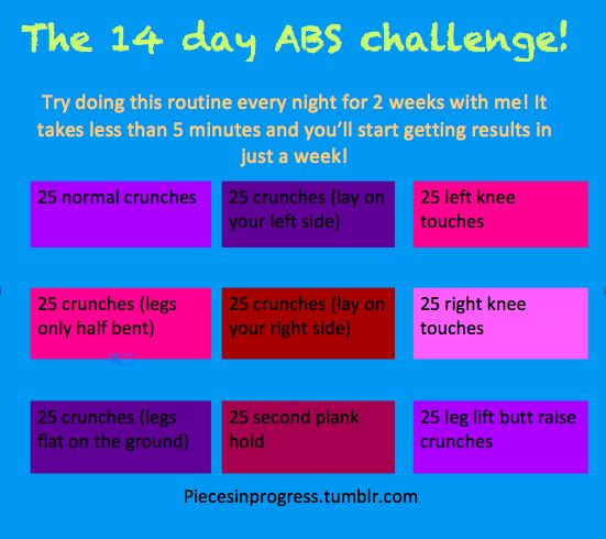 14 day ab challenge...can't turn jell-o into a wash board in 14 days but we'll see how this goes..