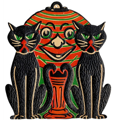 Vintage Halloween Decoration ~ Black Cats Pumpkin Folk Art: Halloween Stuff, Die Cut, Halloween Die, Vintage Halloween Decor, Cardboard Halloween, Diecut, Cat Decor, Black Cat, Happy Halloween