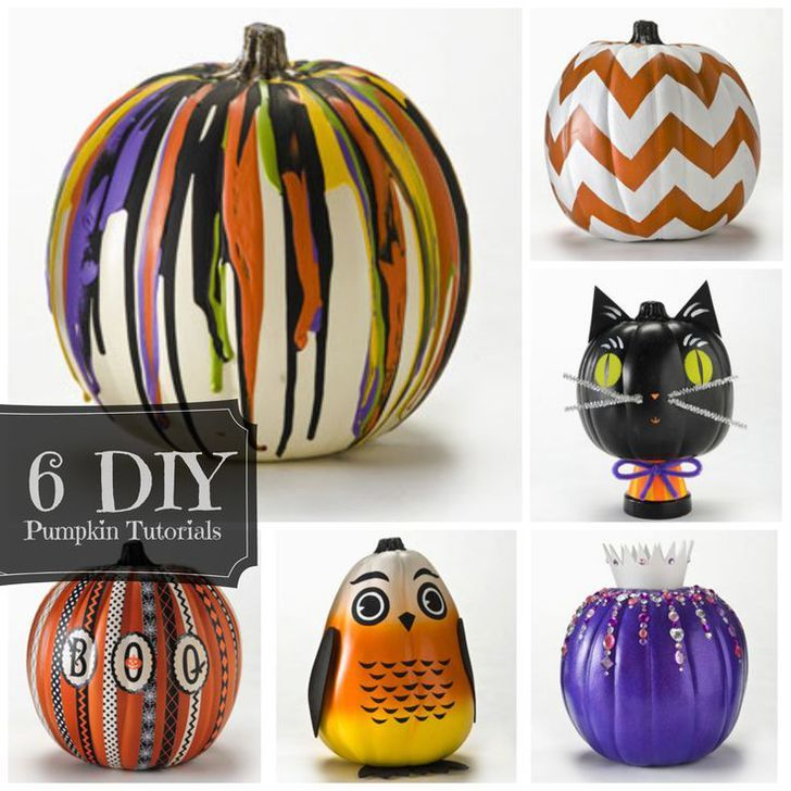 Unique #DIY how-to pumpkin trends for #halloween 2013 - no carving needed! click thru for the full tutorials #plaidcrafts