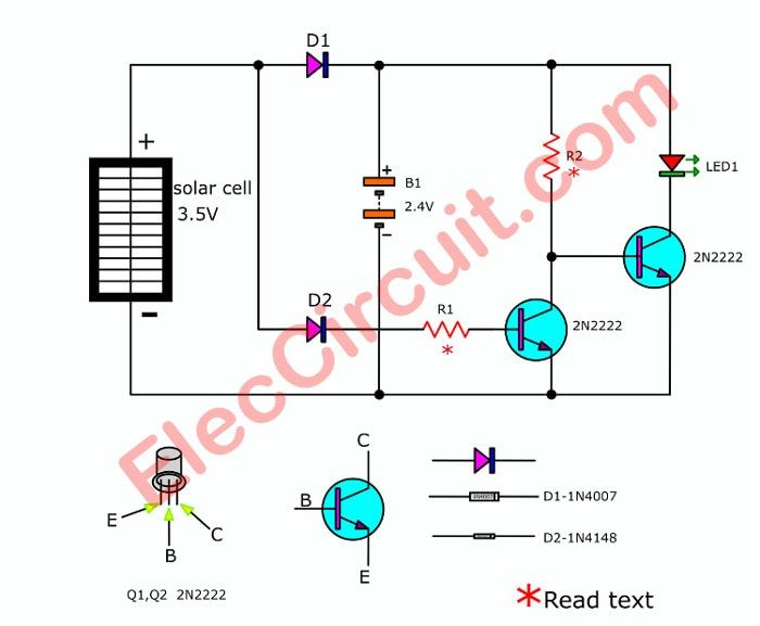 Simple Automatic Solar Night Light Circuit From Water Bottle Eleccircuit Com Solar Led Lights Solar Solar Led
