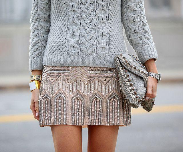 Skirt: Club Monaco | Hand Knit Sweater: Coach c/o |  Clutch: Antik Batik | Watch: Vintage Rolex Tudor | Bracelets: Hermes & J Crew