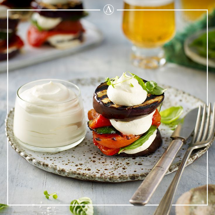 Grilled Mediterranean Stack with Fetta Cream   #summerrecipes #easyrecipes #Mediterranean #cheese #Lemnos