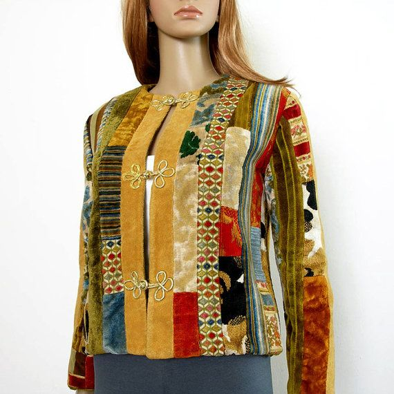 1970s Patchwork Jacket / 70s Multicolor OOAK by LookAgainVintage, $78.00....In the book, FAMILY SECRETS by Zina Abbott, GOFT member Sandy attends wearing a quilted jacket in autumn colors that looks great over denim.