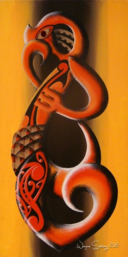 """This is a acrylic art print finished on 18"""" x 36"""" gallery canvas, with black sides, ready to hang. It features iconic Maori and Polynesian art styles from New Zealand (Aotearoa) and the Pacific Islands. PM me if you are interested in purchasing a print to brighten your space or visit our online store at www.inspiacreative.com.au"""