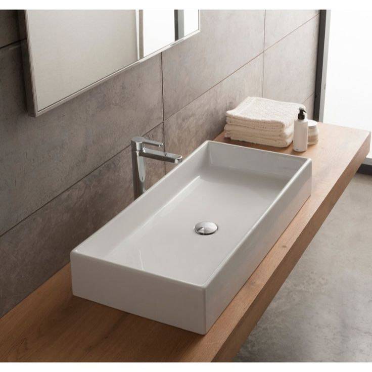Bathroom Sink, Scarabeo 8031/80, Rectangular White Ceramic Vessel Sink 8031/80