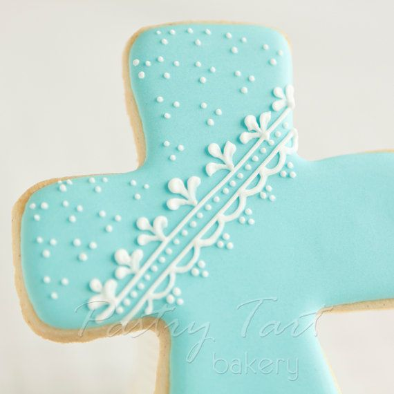Blue and White Lace Christening Cross Cookie by PastryTartBakery, $39.50