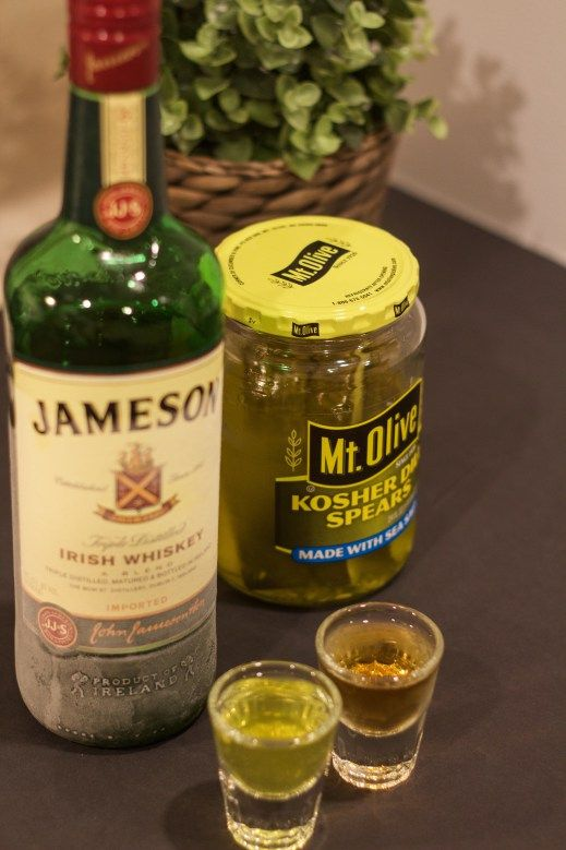 Pickle Back shot. made with Jameson and pickle juice. Yum!