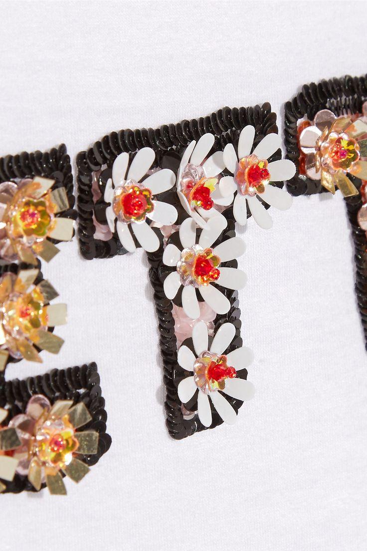 Markus Lupfer | Ruffle-trimmed embellished cotton-jersey top | NET-A-PORTER.COM