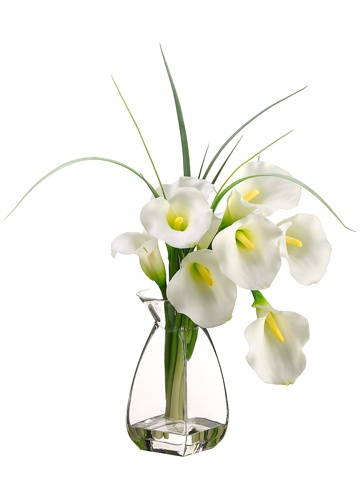 If you want something crisp and clear, then this asymmetrically shaped Calla Lilly Flower Arrangement is exactly what you are looking for. Placed in a glass vase with liquid illusion water and floral stems to impress, each single strand proudly displays a majestic Calla Lilly Bloom. Several strands of grass are dancing amongst the flowers, which makes this elegant arrangement a sure success for any wedding celebration! 20HX15W